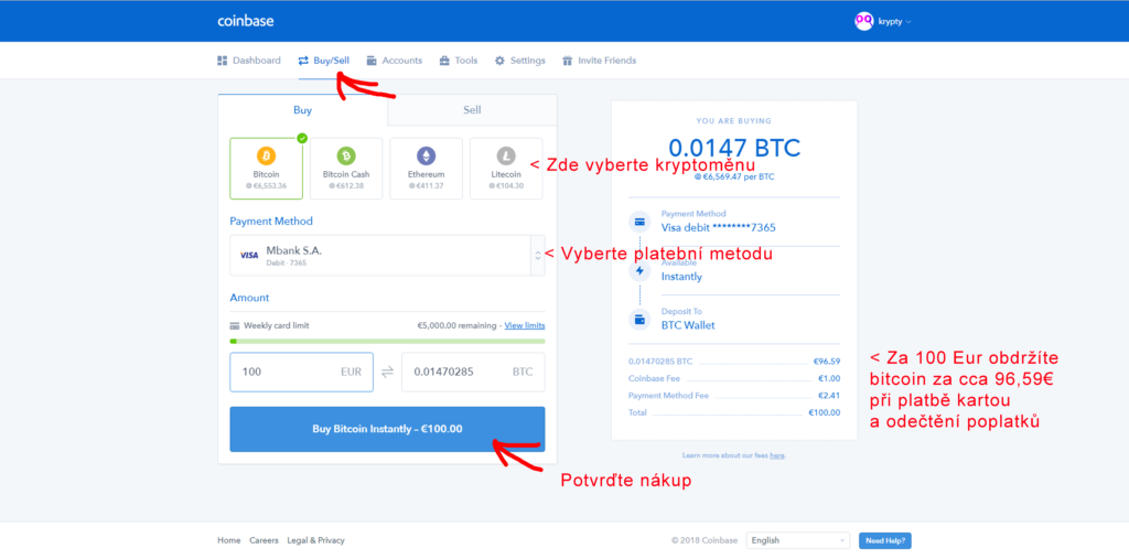 Nákup Bitcoinu na Coinbase