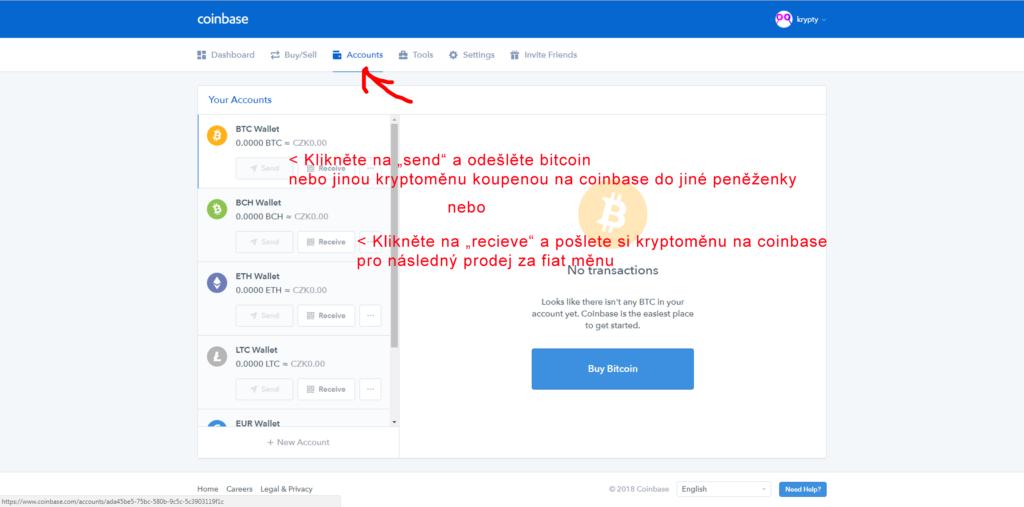 Odeslání Bitcoinu z Coinbase
