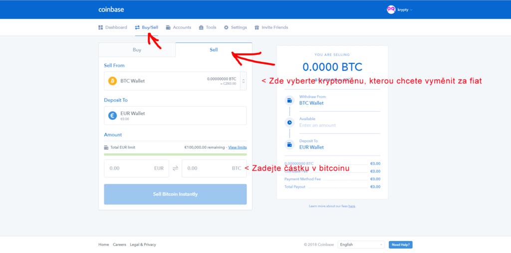 Prodej Bitcoinu na Coinbase