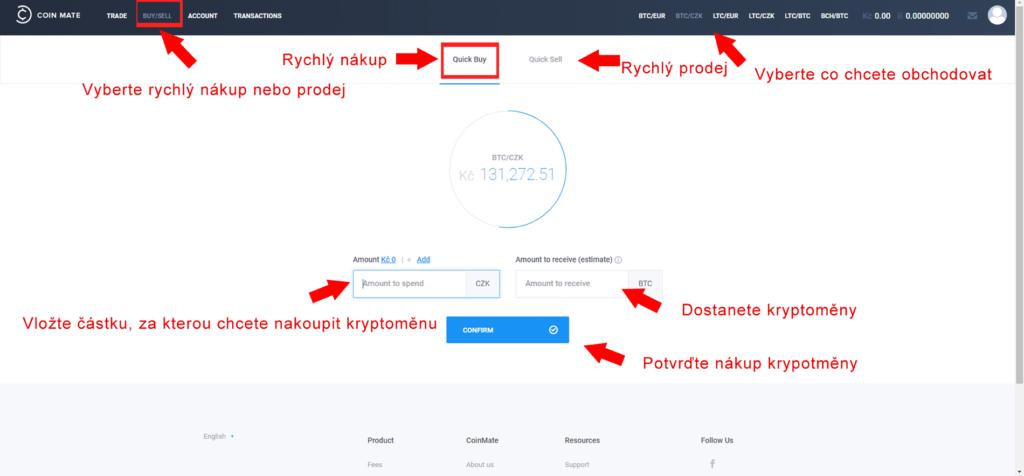 coinmate nákup kryptoměny - příklad bitcoin za czk