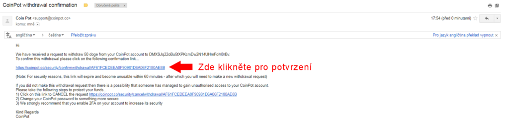 email pro potvrzení transakce